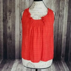 Odille red plaid button backed sleeveless top